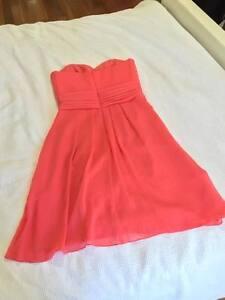 David's Bridal Short Strapless Crinkle Chiffon Dress in Guava - Size 4