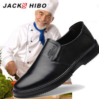 JACKSHIBO Men's Business Kitchen Chef Shoes Anti-slip Hotel Working Shoes Black