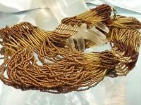 Vintage 80's Stunning Multi-Strand Golden Amber Glass Seed Bead Necklace 716a1