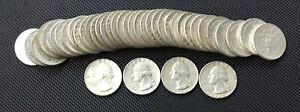 Full roll of pre-1964  SILVER WASHINGTON QUARTERS -- 40 COINS
