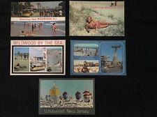 #13 Nice Lot! (5) Chrome Wildwood Postcards Boardwalk Beach Amusement Rides