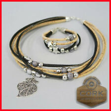 NEW! Handmade Cork Jewellery Jewelry Setting Necklace & Bracelet Heart Set Gift