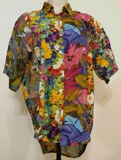 Red Tape for Regarde Button-Front S/S Vibrant Floral Panel Print Rayon Shirt M