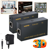 HDMI Extender(Tx + Rx)RJ45 cat5e Cat6 Ethernet Cable Up to 60m 1080P 3D HDCP