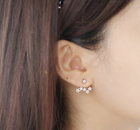 Sterling Silver Rose Gold Star Drop Stunning Stud Unique Rhinestone Earrings
