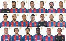 20 Postal postcard jugadores FC BARCELONA 2016/17 Coleccion completa