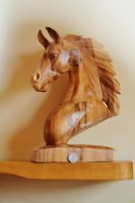 Hand Carved Solid Wooden Horse Head Sculpture 40cm High - Single Piece of wood