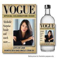 Personalised photo VOGUE VODKA GIN WINE bottle label Sticker Birthday Wedding129