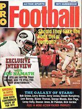 1971 Action Sports Pro Football magazine, Jim Bakken, Cardinals~Joe Namath, Jets