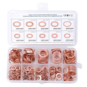200pcs Copper Washers Flat Ring Sump Plug Oil Seal Gasket Assorted Set