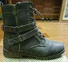 BAMBOO~Woman's ~Brown~Leather~Ankle/Combat~Boots Size 8.5 (38.5)