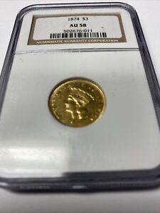 1874 $3 gold Princess NGC AU58