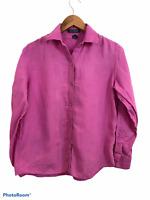 Lauren Ralph Lauren Women's Pink Long Sleeve Button Up Linen Blouse Size Small