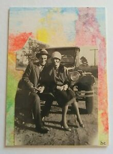 """A Different Time Line #9 - Model T Ford"""" Original Art Vintage Photo Collage ACEO"""