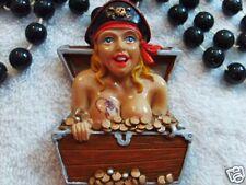 """Naked Pirate Lady"" in Treasure Chest Mardi Gras Bead Scorpion Gasparilla (B779)"