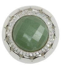 Aventurina Verde Piedra Preciosa Grande 33 mm plata esterlina colgante + cadena larga