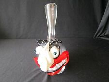 1x Funky Blown Art Glass Strange Unique Head Face Bud Vase Clown Joker Groucho