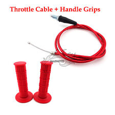 Throttle Cable Red Handle Grips For 50 90 110 125 150 160 cc Pit Dirt Motor Bike