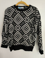Gitano Vintage Sweater Black White Abstract DAVID ROSE Schitts Creek Snowflake M