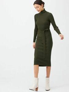 BNWT V By Very Roll Neck Rib Self Belt Midi Khaki Dress Size 16