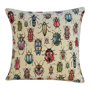 "Geometric Tapestry Bugs Cushion. Double Sided Insects. 17x17"". Multicoloured."