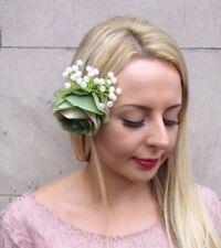 Olive Green White Gypsophila Flower Hair Clip Fascinator Wedding Floral 4056