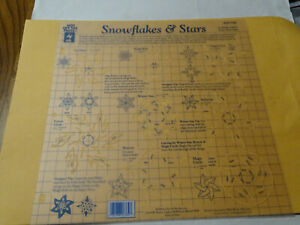 """Hot Off The Press plastic Template stencil 12"""" x 12"""" snowflakes & Stars 8 shapes"""