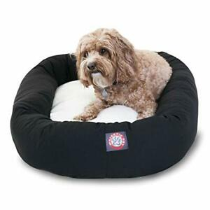32 inch Black& Sherpa Bagel Dog Bed By Majestic Pet Products