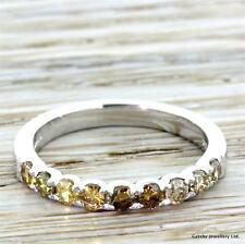 0.59ct FANCY YELLOW & COGNAC DIAMOND HALF ETERNITY BAND RING - Platinum