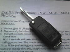 VW VOLKSWAGEN GOLF MK5 TOURAN/SEAT ETC (N ) 3BTN REMOTE ALARM FLIP UNCUT KEY FOB