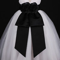 Black Sash Wedding Flower Girl Dress Bow  Waistband S M L 12M 18M 2 4 6 8 10 12