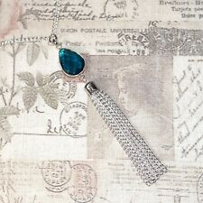 Flapper/1920's style long silver necklace with blue drop pendant and tassel