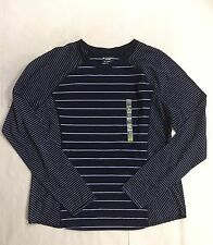 ❤️TEK GEAR WOMENS Workout NAVY BLUE Long Sleeve STRIPED Shirt, THUMB HOLE❤️XL