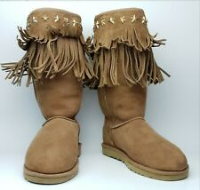 UGG Jimmy Choo Womens 7 Brown Suede Sheepskin Fringed Boots