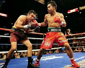 MANNY PACQUIAO vs OSCAR DELAHOYA 8X10 PHOTO BOXING PICTURE MANNY RIGHT