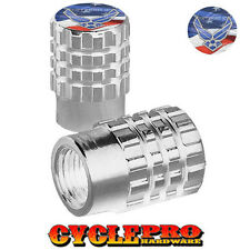 2 Silver Billet Knurled Tire Valve Cap Motorcycle - USAF AIR FORCE USA - 071