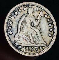 1853 Seated Liberty Half Dime 5C Arrows Higher Grade Good US Silver Coin CC7045