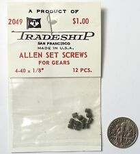 "12pc TRADESHIP Japan 1/24 1/32 Slot Car ALLEN SET SCREWS for GEARS 4-40x1/8"" A++"