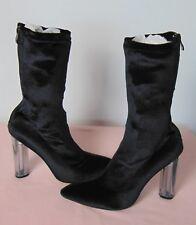 Missguided Black Velvet Perspex Heel Ankle Boot Back Zip Detail UK 7