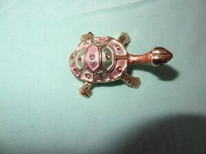 Turtle Vintage Metal Enamel  Trinket Box with Rhinestones