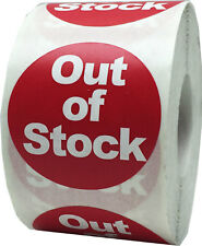 Red with White Out Of Stock Stickers, 1.5 Inches Round, 500 Labels on a Roll