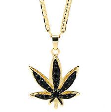 "14k Gold Plated Marijuana Black CZ Stone Pendant 24"" Gucci Chain Necklace"