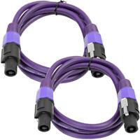 SEISMIC AUDIO Pair of 12 Gauge 5' Purple Speakon to Speakon Speaker Cables