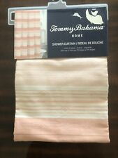 Tommy Bahama Coral Salmon Cream Stripe Shower Curtain 72�x 72� Cotton New