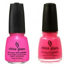 China Glaze Neon Shocking Pink & Shimmering Hang Ten-Toes Duo Nail Varnish 14ml