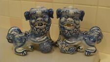 2 Unique Chinese Blue White Ceramic/Porcelain FOO Dogs With Dragon? On His Back