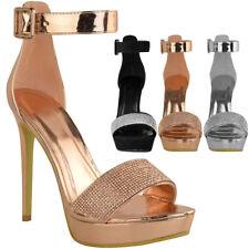 42c19ee36e0d Womens Ladies Sparkly Diamante Platforms Stilettos High Heels Party Sandals  Size
