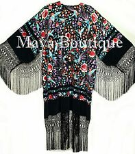 Embroidered Silk Opera Coat Kimono Jacket Floral & Phoenix Birds Maya Matazaro
