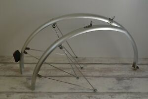 Vintage Silver Grey Full Length Mudguards 43mm Pair - Talmu Rear Reflector