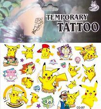Pokemon Go Pikachu Temporary Tattoo Sheet Children Kid Birthday Party Bag Filler